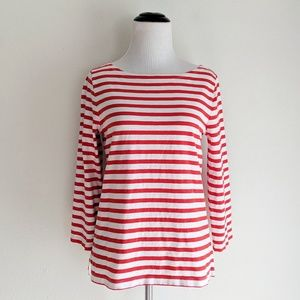 J. Crew Red and White Striped Boatneck Top